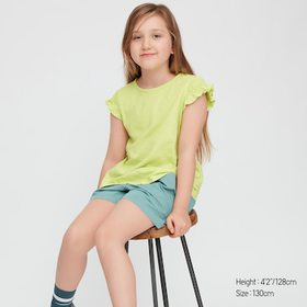 Kids Slub Gathered Short-Sleeve T-Shirt, Light Gre