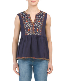 SOLITAIRE Sleeveless Peplum Embroidered Top