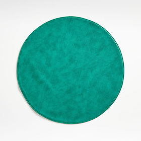 Crate Barrel Maxwell Green Round Easy-Care Placema
