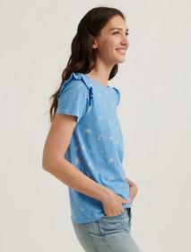 Lucky Brand Essential Floral Ruffle Crew Tee