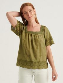 Lucky Brand Lace Mix Short Sleeve Peasant Top