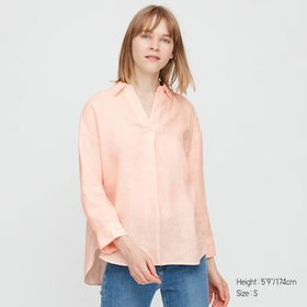 Women Premium Linen Skipper Collar 3/4 Sleeve Shir
