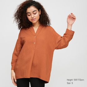 Women Linen Blend Skipper Collar 3/4 Sleeve Shirt,