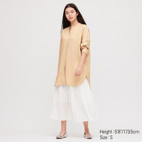 Women Linen Blend Stand Collar Long-Sleeve Tunic,