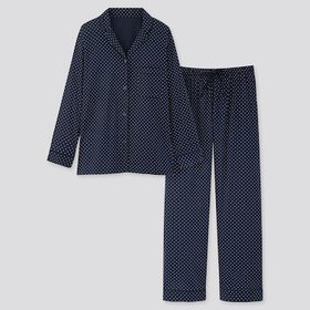 Women Soft Stretch Long-Sleeve Pajamas, Navy, Medi