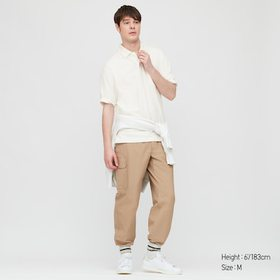 Men Cotton Jersey Oversized Polo Shirt, Off White,