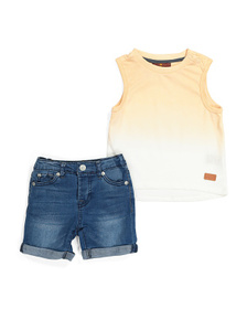 7 FOR ALL MANKIND Baby Boys 2pc Denim Short Set