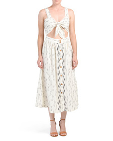 FREE PEOPLE Caldasi Tie Front Midi Dress