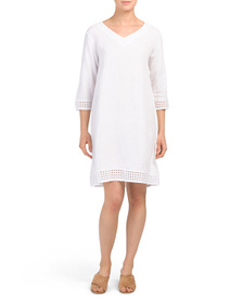 STELLA ROSA Made In Italy Eyelet Trim Linen Dress