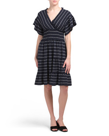 MAX STUDIO Crinkled Jersey Stripe Tiered Dress