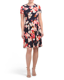 MAGGY LONDON Pleated Floral Matte Jersey Dress