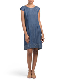 LINA TOMEI Made In Italy Sequin Trim Tencel Dress