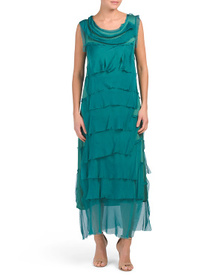 ILENIA M Made In Italy Silk Blend Tiered Maxi Dres