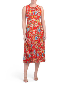 DONNA MORGAN Floral Tie Neck Dress With Pleated Sk