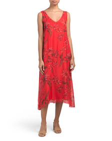 ROSEMARINE Made In Italy Floral Silk Blend Midi Dr