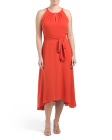 TAHARI BY ASL Ruched Neck Dress With Hi-lo Skirt