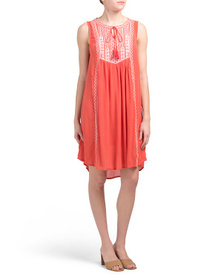CHELSEA & THEODORE Sleeveless Dress With Embroider