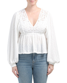 FREE PEOPLE Lace Trim Peasant Blouse