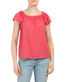 MAX STUDIO Crinkled Jersey Square Neck Peasant Top