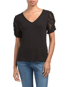 KIM & CAMI Short Sleeve V Neck Top With Lace Ruche
