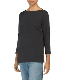 LANDS END Knit Tunic Top With Button Side