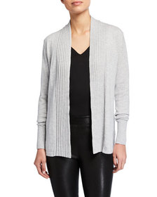 Neiman Marcus Ribbed Detailed Open Cardigan