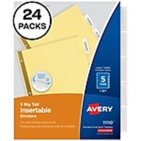 Avery Big Tab Insertable Paper Dividers, 5 Tabs, B
