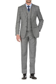 English Laundry Gray Plaid Slim Fit Two Button Not