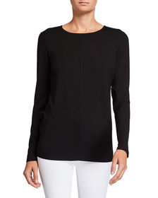 Neiman Marcus Long-Sleeve Knit Top With Faux Leath