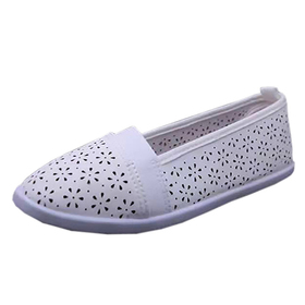 Womens Ashley Blue Perforated Slip-On Comfort Flat