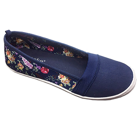 Womens Ashley Blue Floral Back Flats
