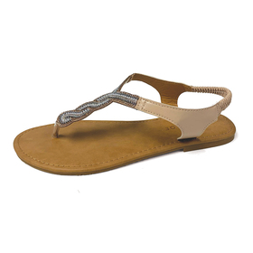 Womens Gold Toe® T-Strap Sandals with Bead Accents