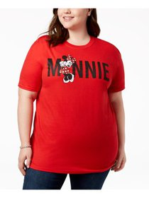 DISNEY Womens Red Minnie Mouse Graphic Short Sleev