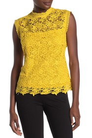 NANETTE nanette lepore Mock Neck Sleeveless Lace T