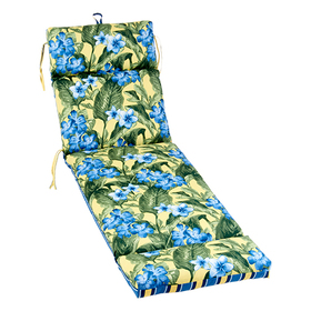 Floral and Stripe Outdoor Chaise Cushion