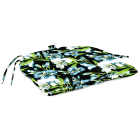 Jordan Blue Floral with Green Leaves Chair Pad