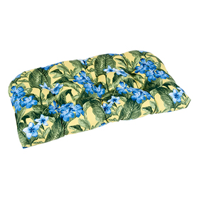 Yellow and Blue Floral Wicker Settee Cushion