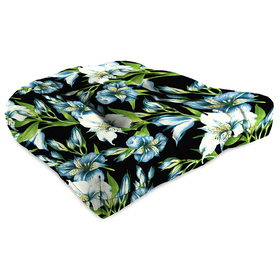 Jordan Blue Floral with Green Leaves Wicker Chair