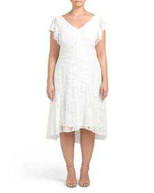 TAYLOR Plus Lace Dress With Flutter Sleeve