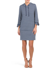 MAX STUDIO Striped Tie Sleeve Knit Dress With Hood