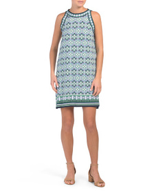 MAX STUDIO Clover Knots Panel Trapeze Jersey Dress