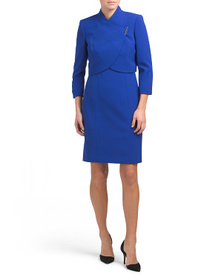 TAHARI BY ASL Petite Wrap Jacket With Bar Snap And