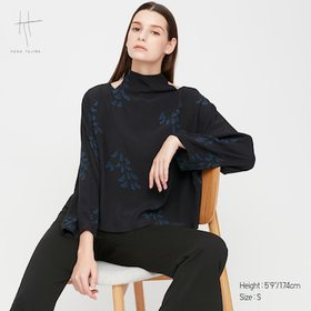 Women Rayon Tie Back Long-Sleeve Blouse (Hana Taji