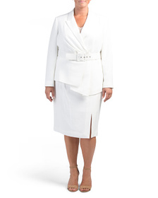 TAHARI BY ASL Plus Belted Jacket With Pencil Skirt
