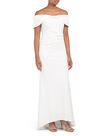 MARINA Bow Off The Shoulder Gown