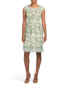 MAX STUDIO Daisy Floral Print Pleated Top Dress