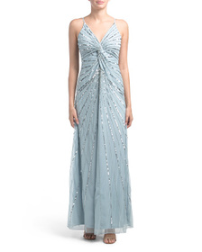 BEBE Twist Front Beaded Slip Gown