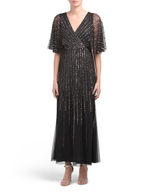 ADRIANNA PAPELL Petite Sequin V-neck Gown With Flu