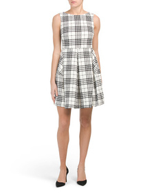 TAYLOR Plaid Ponte Fit & Flare Dress With Pockets