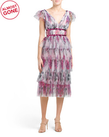 MARCHESA NOTTE Flutter Sleeve Pleated Printed Cock
